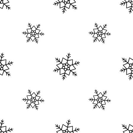 Snow seamless pattern. Winter snowflakes texture. Vector black and white illustration in doodle style on white background
