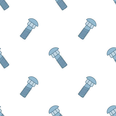 Seamless pattern with doodle screws. Texture with hand drawn bolts. Vector illustration on white background