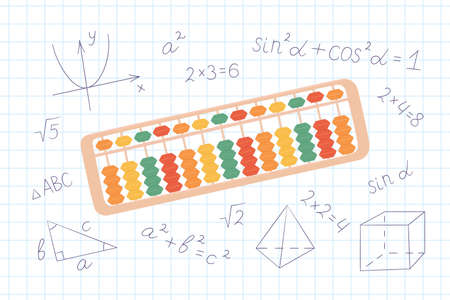 Abacus soroban for learning mental arithmetic for kids. Concept of illustration of the Japanese system of mental math. Hand drawn vector illustration on notebook sheet in a cage