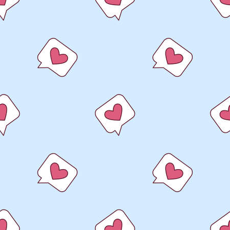 Seamless pattern with messages of love. Speech bubble with a heart. Vector illustration on blue background