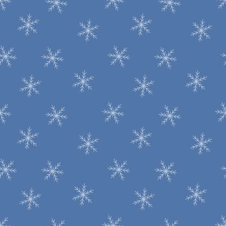 Seamless pattern with winter snowflakes. Snow texture. Vector illustration in doodle style on blue background Иллюстрация