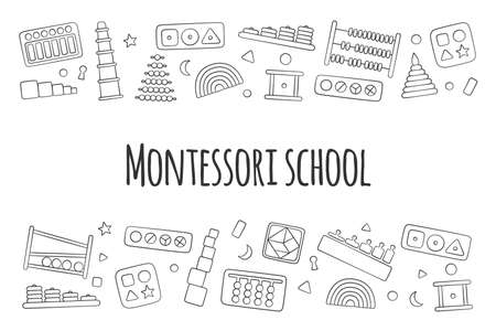 Flyer with kid toys for Montessori games. Education logic toys for preschool children. Vector illustration in doodle style on white background