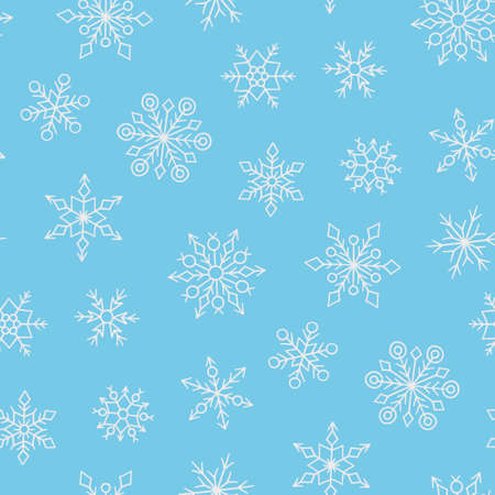 Seamless pattern with winter snowflakes. Hand drawn snow texture. Vector illustration in doodle style on blue background Ilustração