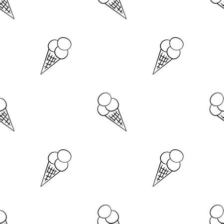 Ice cream balls in a waffle cone. Seamless pattern in doodle style on pink background. Vector illustration