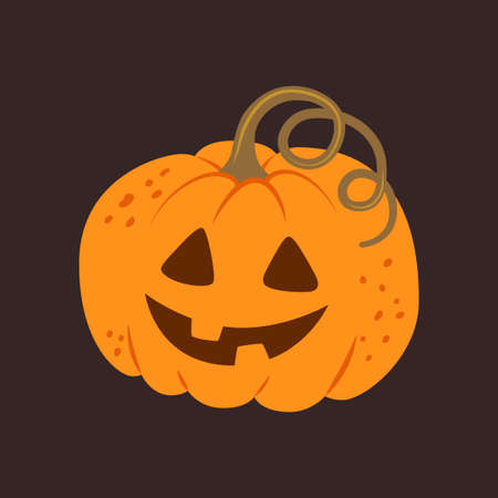 Halloween pumpkin with funny face on dark background. Hand drawn vector illustration