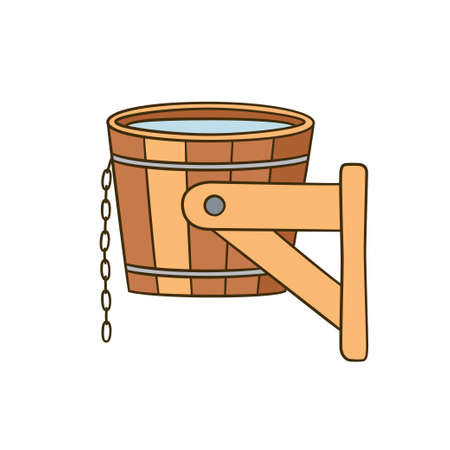 Dousing with cold water. Bucket for hardening procedures. Hand drawn vector illustration on white background Ilustrace