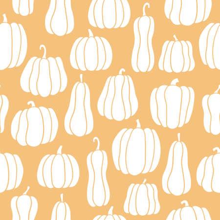 Pumpkin seamless pattern. White pumpkins of different shapes. Hand drawn vector illustration on orange background