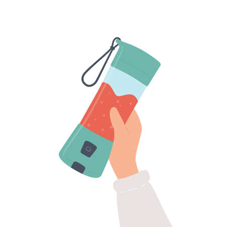 Hand holding a portable blender for smoothies and mixed drink. Hand drawn vector illustration Иллюстрация