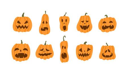 Set of halloween pumpkins terrible smile. Vector illustration in flat style on white background Иллюстрация