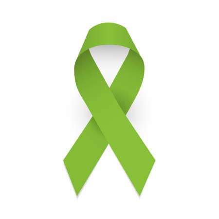 Lime awareness ribbon. Lymphoma carner awareness symbol. Isolated vector illustration on white background