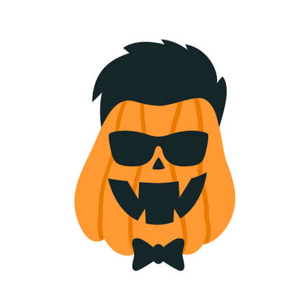 Halloween Pumpkins in the image of a hipster with glasses. Vector illustration on white background