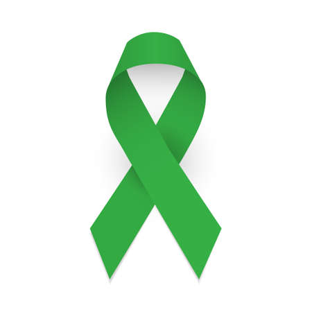 Green awareness ribbon. Symbol of cerebral palsy and Mental health. Isolated illustration on white background