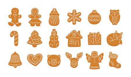 Set of cute gingerbread cookies for Christmas. Gingerbread house, man, snowflake, angel, reindeer, christmas tree. Isolated vector objects on white background
