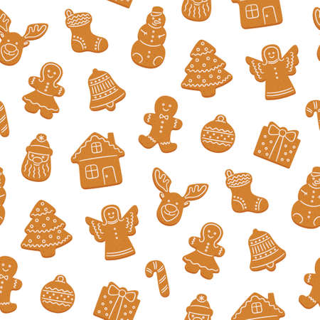 Seamless pattern of gingerbread cookies for Christmas. Gingerbread house, man, angel, reindeer, christmas tree. Vector illustration on white background