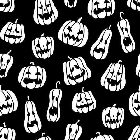 Halloween pumpkins. Black and white seamless pattern. Hand drawn vector illustration on black background