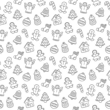 Gingerbread cookies for Christmas. Seamless pattern with gingerbread house, man, angel, bell christmas tree. Vector illustration om white background