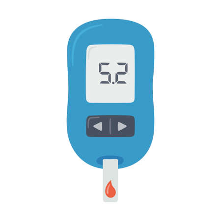 Portable glucometer with normal values. Blood glucose test. Blood sugar readings. Diabetes control and diagnostics. Medical measurement apparatus. Vector illustration Vector Illustratie