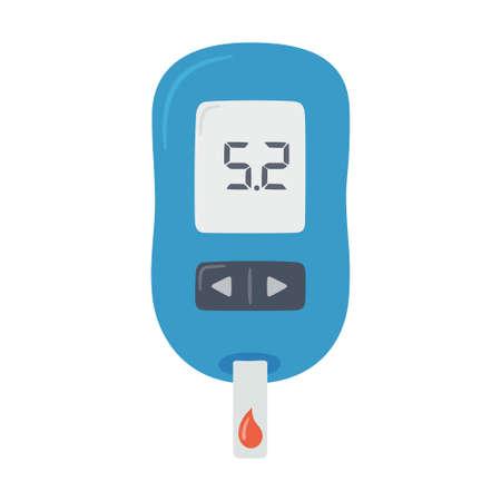 Portable glucometer with normal values. Blood glucose test. Blood sugar readings. Diabetes control and diagnostics. Medical measurement apparatus. Vector illustration Vektoros illusztráció