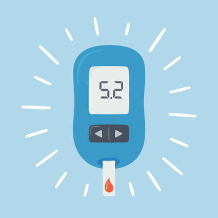 Portable glucometer with normal values. Blood glucose test. Blood sugar readings. Diabetes control and diagnostics. Medical measurement apparatus. Vector illustration