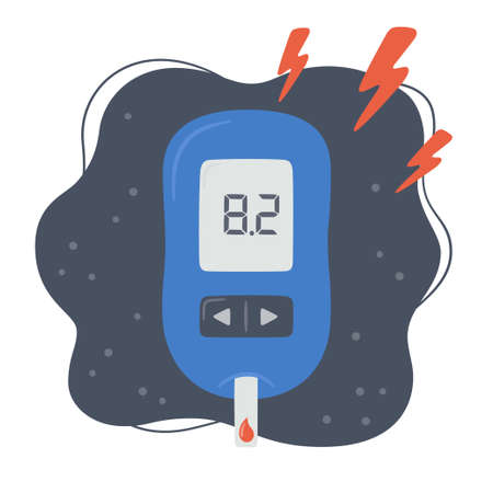 Portable glucometer with increased blood glucose level. Blood sugar readings. Diabetes control and diagnostics. Medical measurement apparatus. Vector illustration