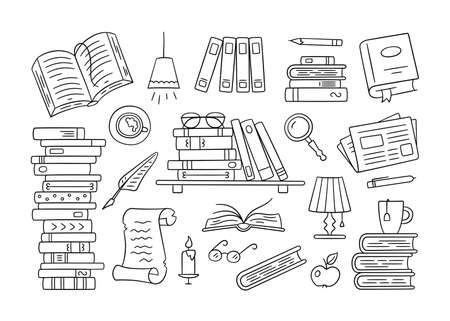 Stacks of paper books, home library, bookshelf in doodle style. Hand drawn set of object to read on white background