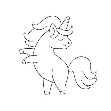 Cute unicorn stands on its hind legs. Hand drawn fairy horse with a horn. Isolated vector illustration in doodle style on white background 矢量图像