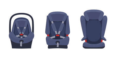 Safety baby car seats collection. Different type of child restraint. Isolated objects. Vector illustration on white background