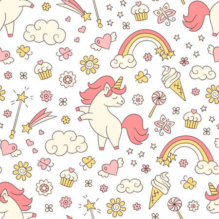 Seamless pattern with unicorn, rainbow, shooting star and magic wand in doodle style. Hand drawn vector illustration on white background