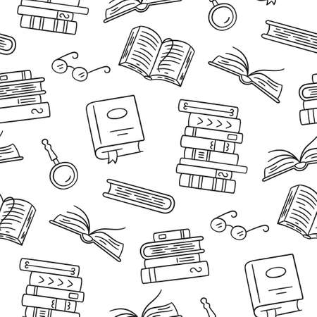 Seamless pattern with paper books. Home library, book stacks, glasses in doodle style. Hand drawn vector illustration on white background