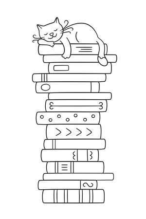 A stack of books with a sleeping cat. Cute kitty sleeping on books pile. Vector illustration in doodle style on white background