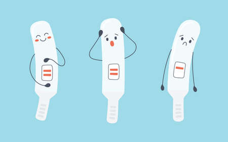 A set of pregnancy test characters with positive and negative results. Pregnancy planning and unexpected pregnancy. Vector illustration