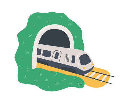 High-speed train in the tunnel. Travelling by rail road. Hand drawn cartoon vector illustration on white background