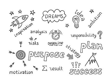 Doodle objects and lettering of fhe process of the emergence of an idea and the achievement of a goal. Vector hand drawn illustration on white background