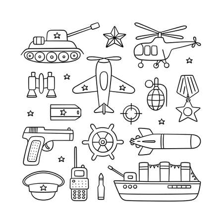 Objects for Defender of the Fatherland Day 23 february and Victory day 9 may. Hand drawn vector illustration on white background