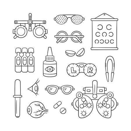 Ophthalmology hand drawn set. Contact lens, eyeball, glasses, phoropter and more. Optometry doodle objects. Vector illustration on white background
