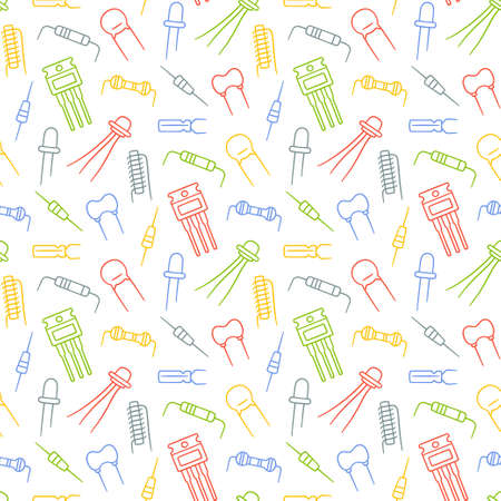 Seamless pattern from electrical components. Diode, transistor capacitor, resistor and inductor. Hand drawn vector illustration on white background 向量圖像