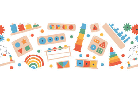 Children wooden toys for Montessori games. Education logic toys for preschool kids. Montessori system for early childhood development. Vector background  イラスト・ベクター素材