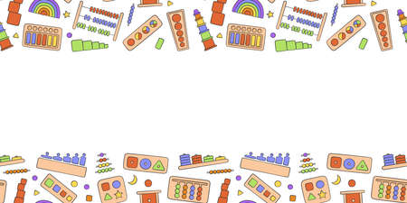 Hand drawn kid toys for Montessori games. Education logic toys for preschool children. Montessori system for early childhood development. Vector background in doodle style  イラスト・ベクター素材