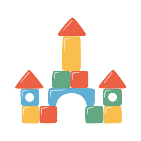 Towers of children toy blocks. Multicolored kids bricks for building and playing. Education toys for preschool kids for early childhood development. Vector illustrations on white background