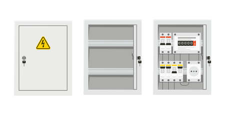 Electrical power switch panel with open and close door. Fuse box. Isolated vector illustration in flat style on white background