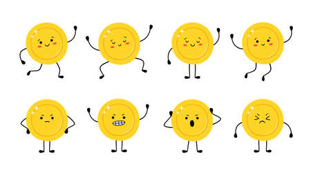 Cute gold coin in different poses. Money coin runs, jumps, is happy, sad, angry. Funny vector cartoon characters isolated on white background