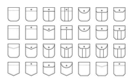 Set of patch pocket icons for shirts and other clothing. Isolated line vector illustration on white background