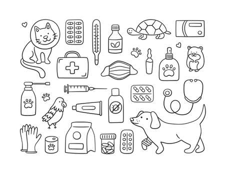 Veterinary set with pets, medicines and food. A cat in a collar and a dog with a bandaged paw. Vector illustration in doodle style on white background