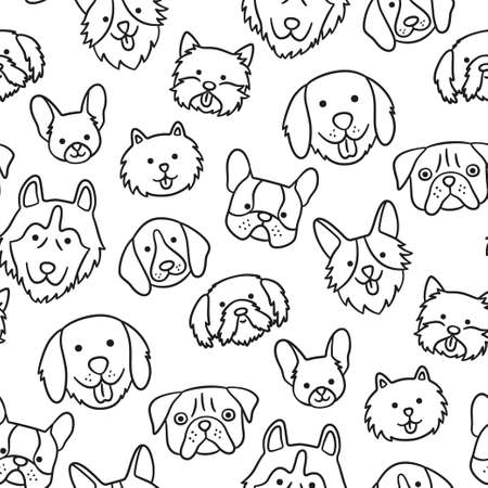 Seamless pattern with heads of different breeds dogs. Corgi, Pug, Chihuahua, Terrier, Husky, Pomeranian. Texture with dog faces. Hand drawn vector illustration in doodle style on white background