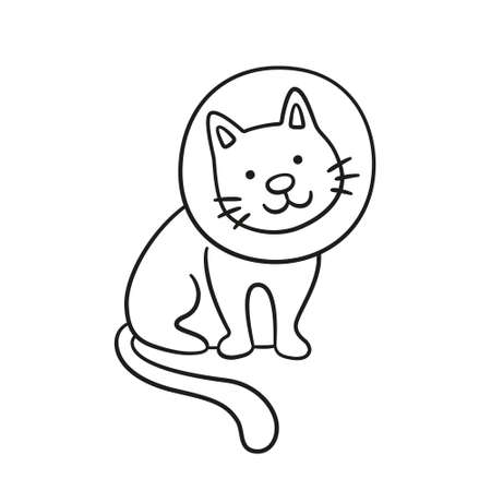 Cat with a neck brace doodle icon. Sick cat with medical collar. Hand drawn isolated vector illustration on white background Vetores