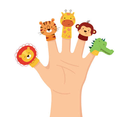 Hand animal puppets. Children finger theater. Family leisure. Lion, tiger, giraffe, monkey and Crocodile dolls. Vector illustration isolated on white background in hand drawn style. Ilustración de vector