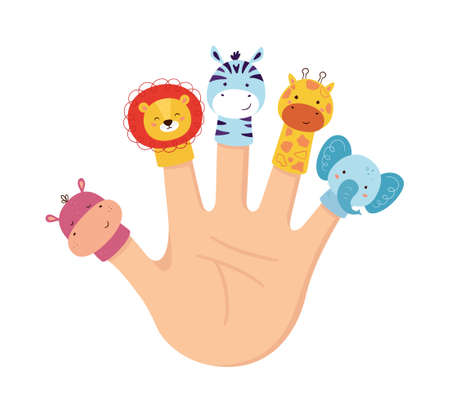 Hand animal puppets. Children finger theater. Family leisure. Lion, Hippo, giraffe, zebra and Elephant dolls. Vector illustration isolated on white background in hand drawn style.