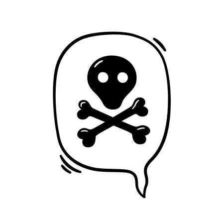 Hand drawn speech bubble with curse, skul and bones. Vector illustration isolated in doodle style on white background.
