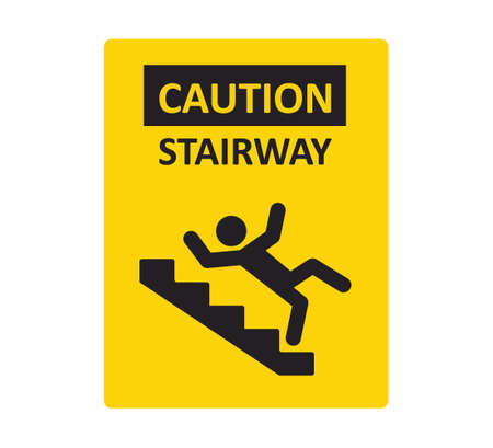 Caution stairway sign. A man falling down the stairs. A sign warning of danger. Slippery stairs. Vector illustration isolated on white background. Illusztráció