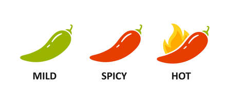 Spice level marks - mild, spicy and hot. Green and red chili pepper. Symbol of pepper with fire. Chili level icons set. Vector illustration isolated on white background.